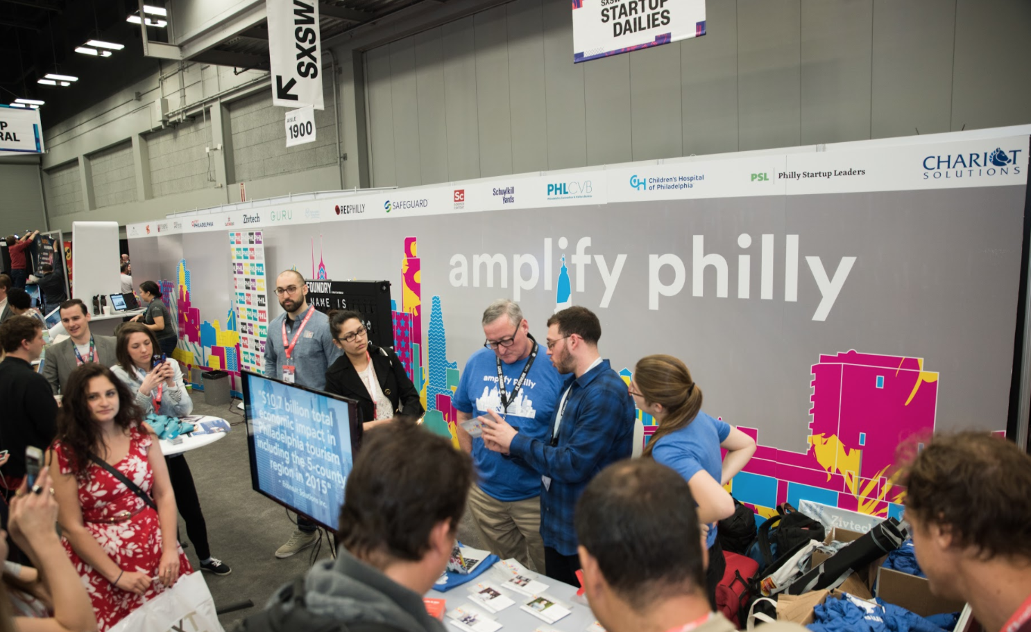 A pic of the scene at the Amplify Philly booth at SXSW