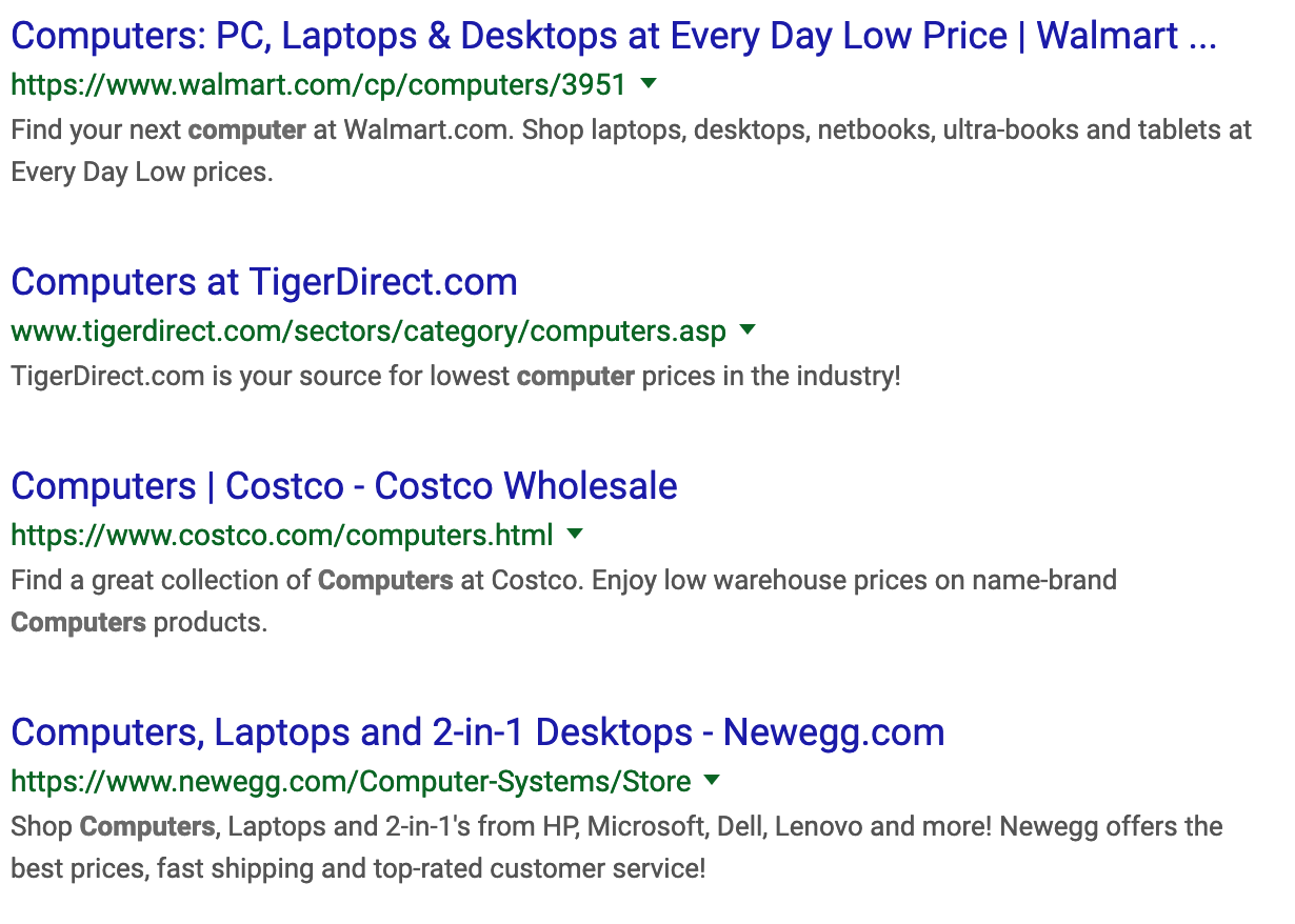 Screenshot of Google search results for the word, computers.