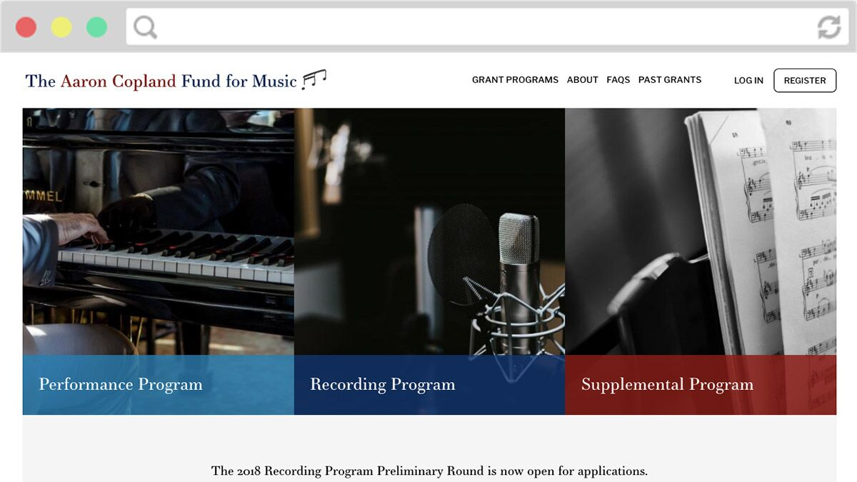 Screenshot of Aaron Copland grant programs page