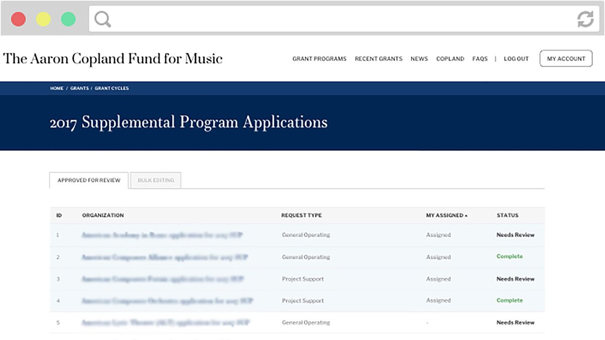 Screenshot of Aaron Copland applications page