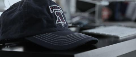 hat on a desk