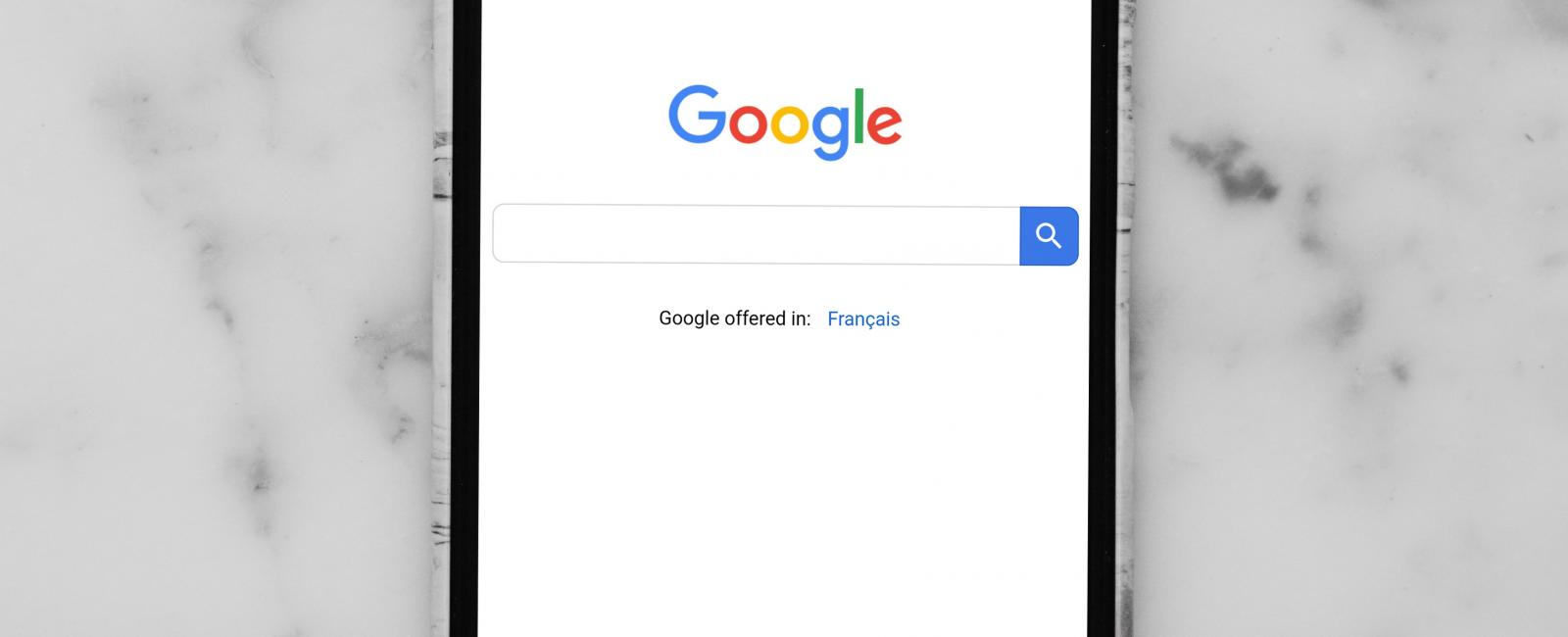 Google search on black android device