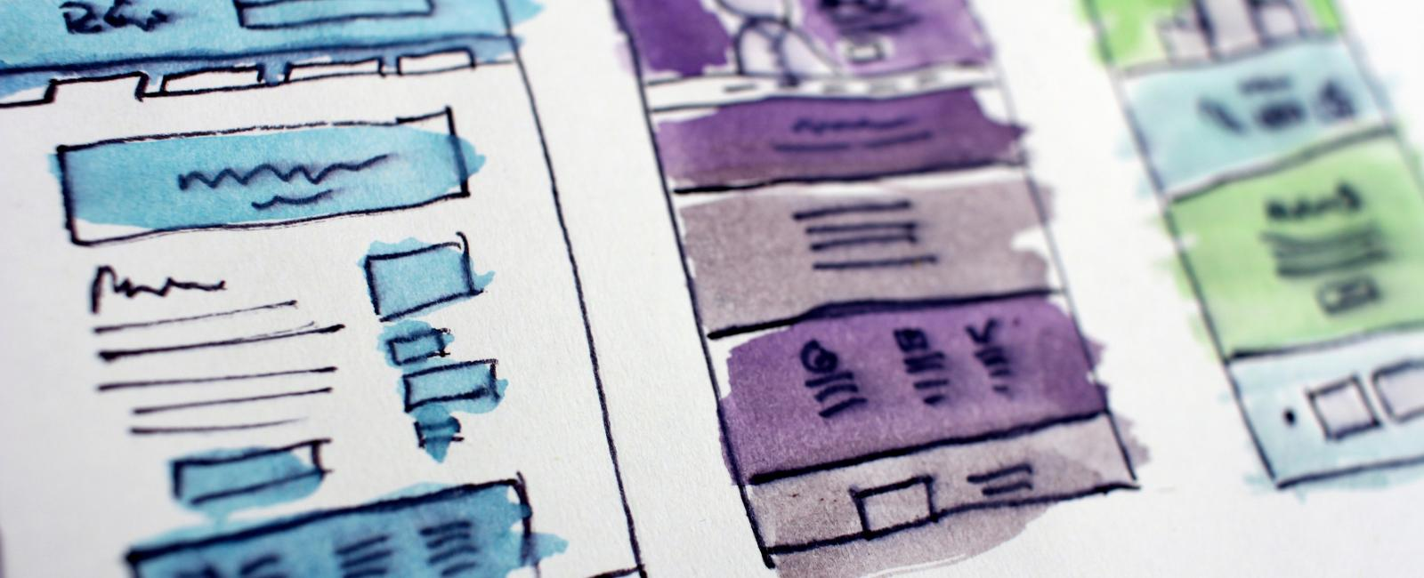 Watercolor website wireframes in blue, purple, and green.