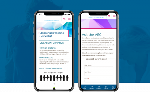 Vaccines on the Go App Screens on Mobile Devices