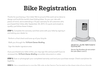 Bike Registration for a 10 Year Warranty